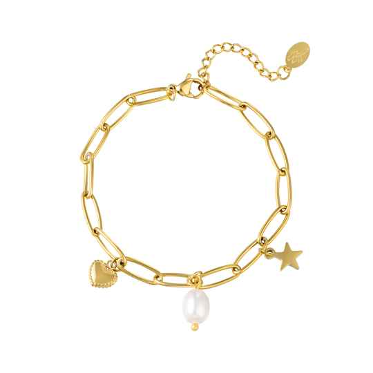 Armband Star, heart and pearl - goud