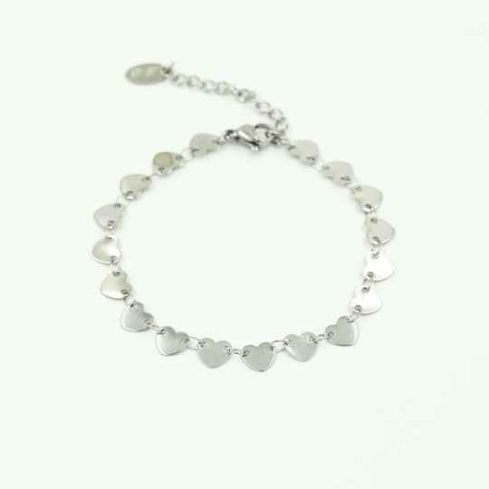 Armband Lot of hearts - zilver