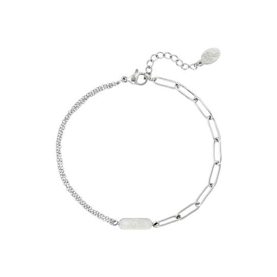 Armband Double chain and star - zilver