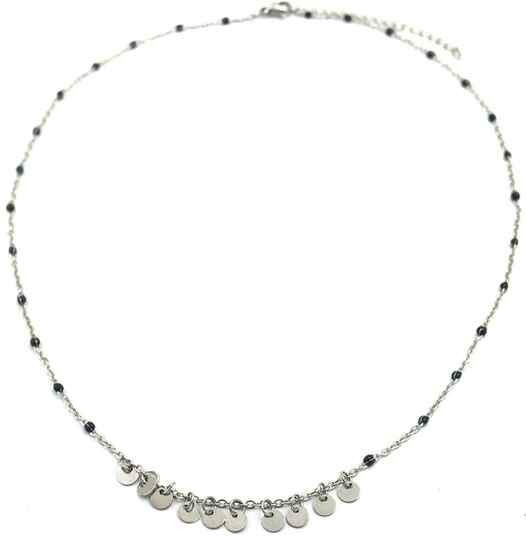 Ketting Beads & coins- zilver