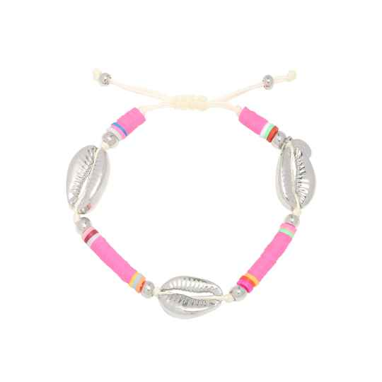 Armband Surfing shell - roze/zilver