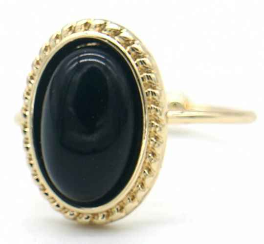 Ring Black stone - goud