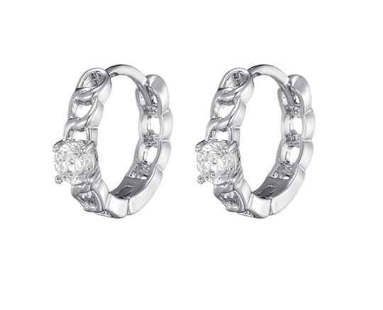 Oorbellen Diamonds in a row - zilver