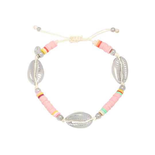 Armband Surfing shell - baby roze/zilver