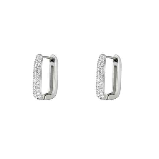 Oorbellen Strass oval medium - zilver