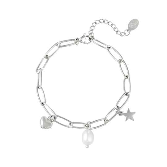 Armband Star, heart and pearl - zilver