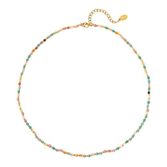 Ketting Colored stone beads - goud