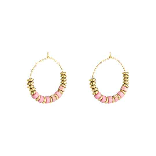 Oorbellen Small beaded hoops - goud/roze