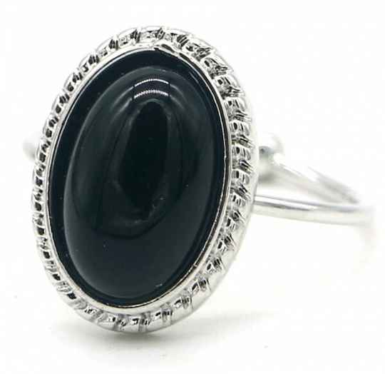 Ring Black stone - zilver