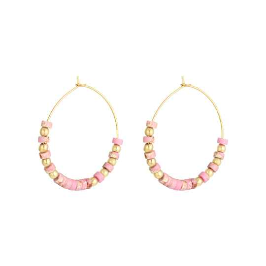 Oorbellen Medium beaded hoops - goud/roze