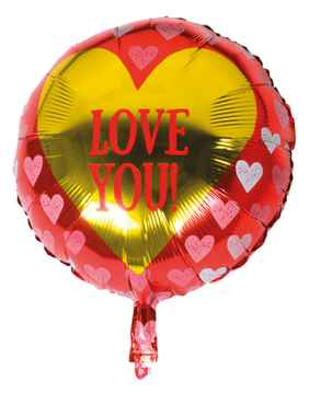Folieballon Love You 45 cm rood/goud