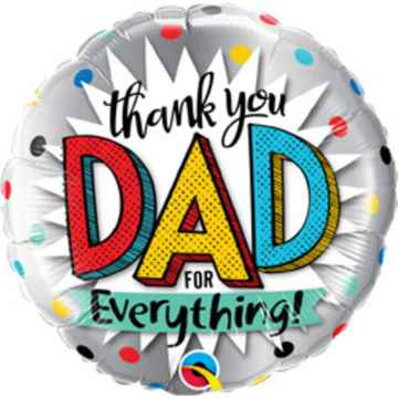 Folieballon Thank You Dad 45 cm zilver