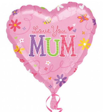 Folieballon Love You Mum 45 cm roze