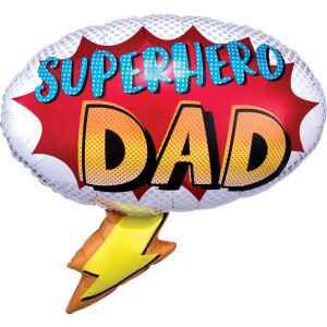 Folieballon Superhero Dad 68 x 66 cm wit/rood XL