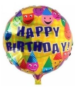 Folieballon Happy birthday Smiley 46cm