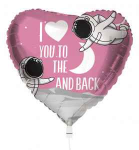 Folieballon I Love You to The Moon and Back 45 cm roze/wit