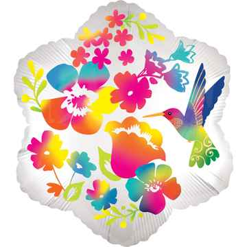 Folieballon Watercolour Flower 38 cm wit/multicolor