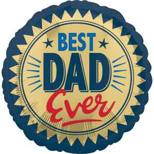Folieballon Best Dad Ever 45 cm blauw/goud