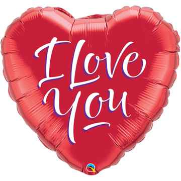 Folat folieballon I love you 45 cm rood