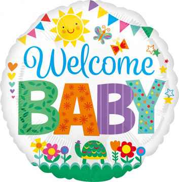 Folieballon Welcome Baby Cute 43 cm wit