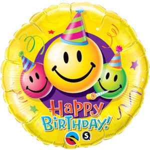 Folieballon Happy Birthday Smiley Faces 45 cm