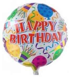 Folieballon Happy birthday ballon 46cm