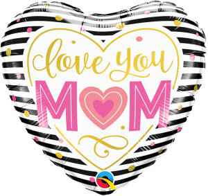 Folieballon Love You Mom 45 cm zwart/wit