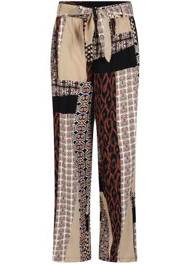 WIDE LEG MIXED GRAPHIC PRINT TROUSERS