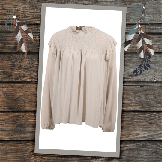 Transfer blouse met ruches beige