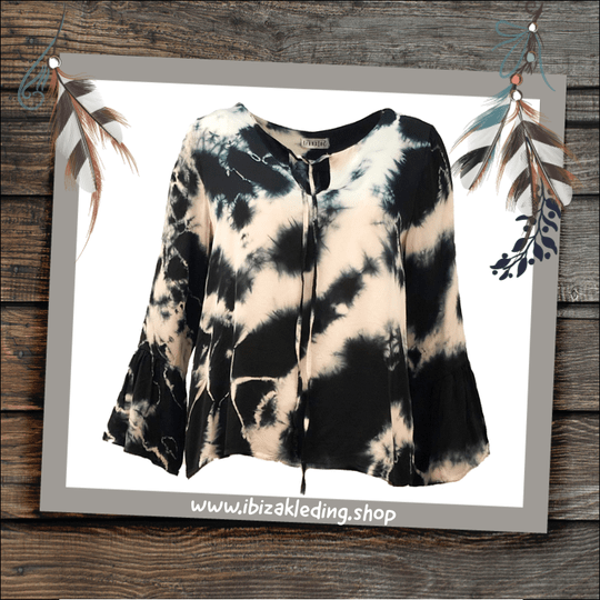Transfer Top black tie & dye