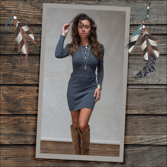 MOOST Wanted Isabel Knitted Dress Stone Grey