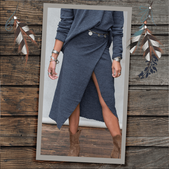 MOOST Wanted Gina Wrap Skirt Stone Grey