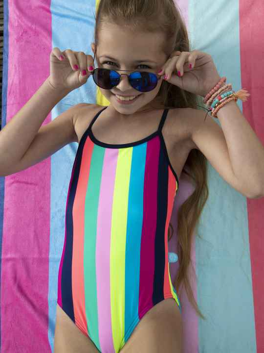 JustBeach Girls Swimsuit Tropical Stripes17