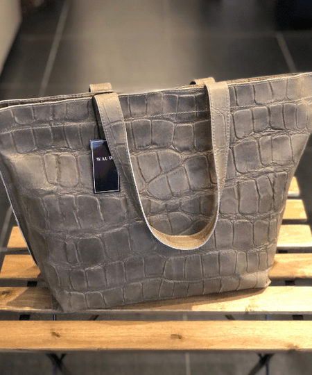 WAUW Grote Croco Shopper Leer Taupe