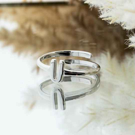 Imotionals One Size Letter Ring U Zilver