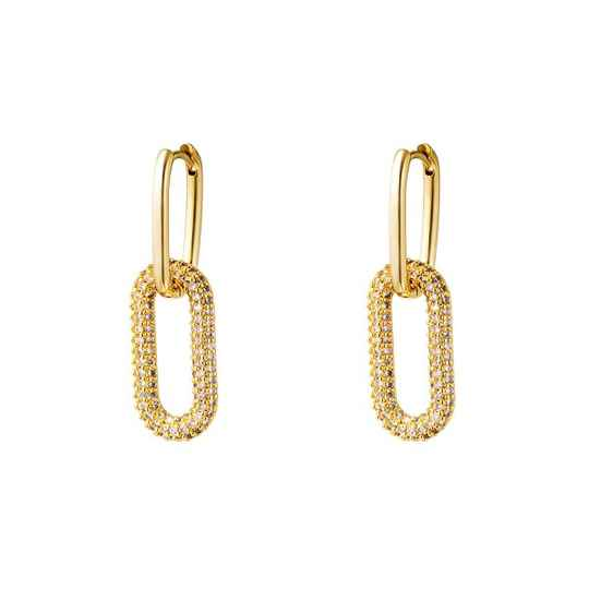 Linked earrings gold