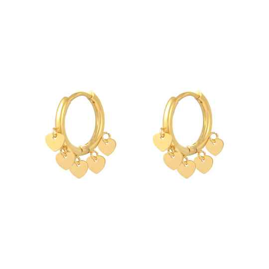 Floating hearts earrings gold