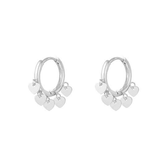 Floating hearts earrings silver