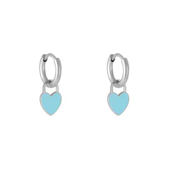 Blue pastel heart earring silver
