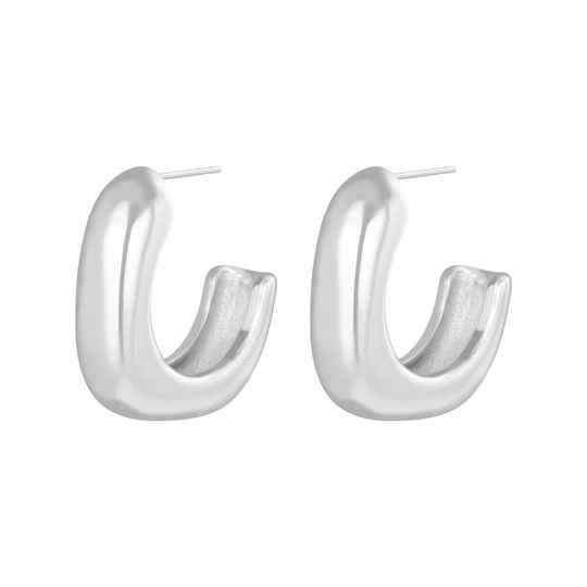 Glam square earrings silver