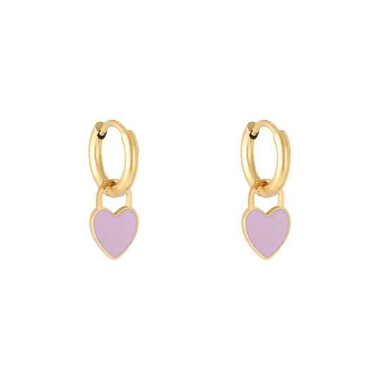 Pastel heart earrings gold