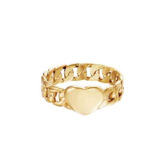 Chained heart ring gold