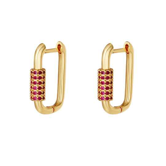 Sparkling square earring red