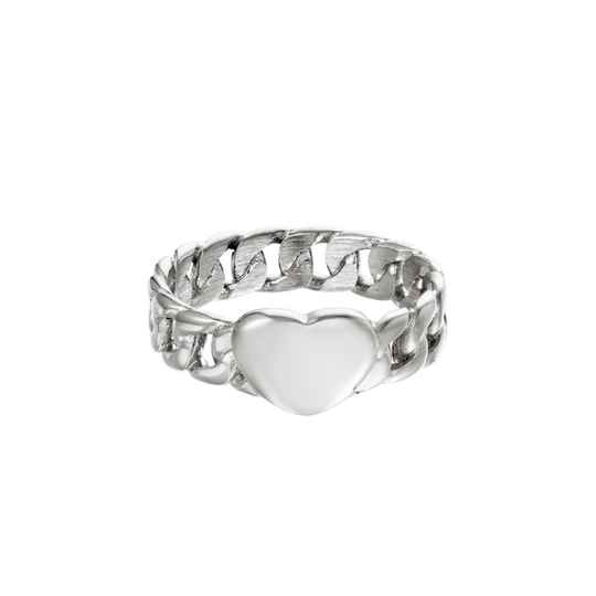 Chained heart ring silver