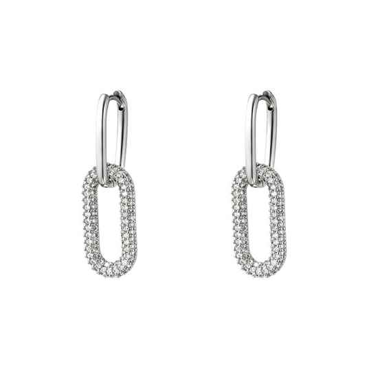 Linked earrings silver