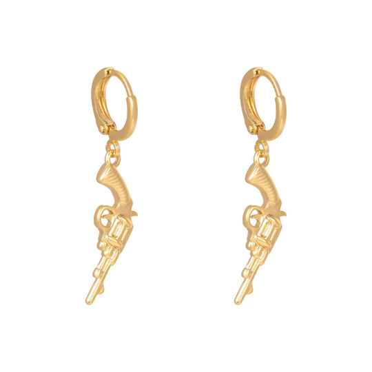 Gun shot earrings gold