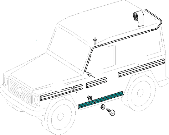 Mercedes-Benz Ledge (Entrance Protective Strip) Lower (Left & Right) G Class (W460-W461-W463) [PRO000412]