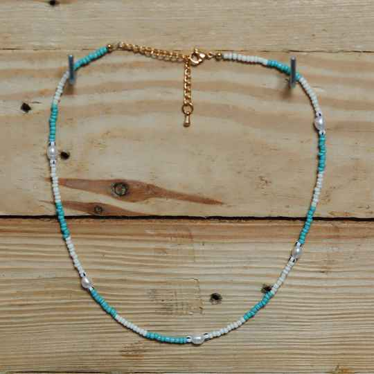 Blue/ white pearl necklace
