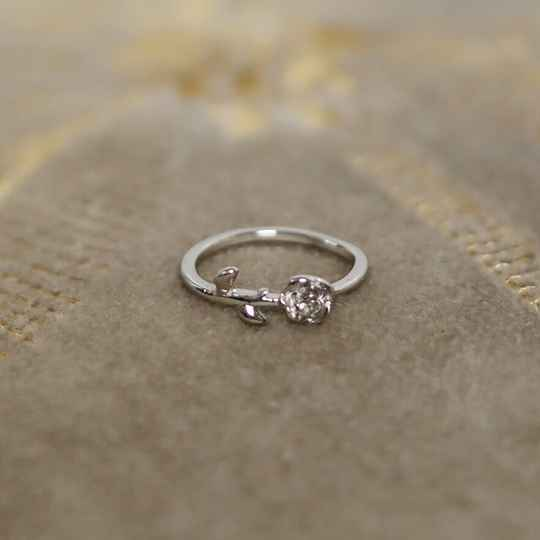 Silver pinky ring rose