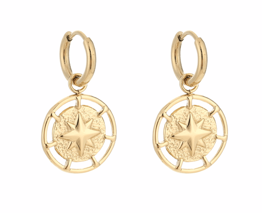 Round Star Earrings gold